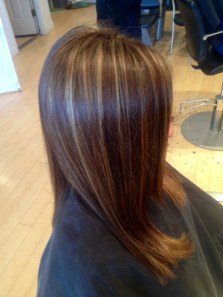 dark blonde highlights on brown hair with angles IG: hairbynickyz