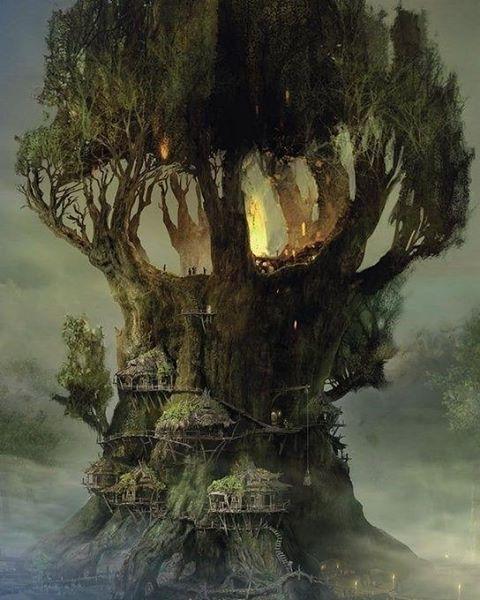 "Arcimboldo (@arc1mboldo) on Instagram: ""#tree #house #art #scenery #digital #digitalart #fantasy"""