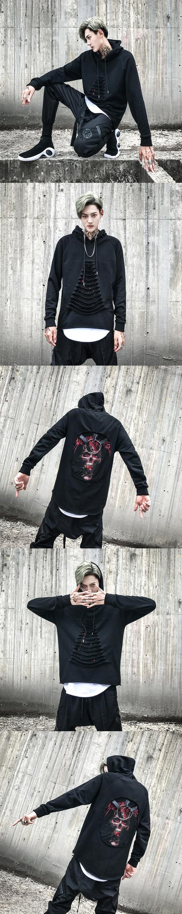 Mens punk rock hoodie hooded Skull print Iron ring Broken hole Singer Stage show Korean Cool Autumn Winter