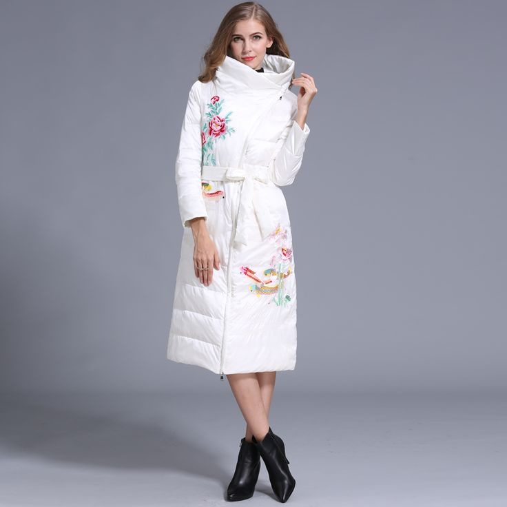 Find More Down & Parkas Information about High Quatity Women Winter duck Coats 90% White duck down Embroidered X Long Down Stand Collar Sashes Two Colors Black and White,High Quality duck coat,China duck down coat Suppliers, Cheap coat down from Sharewin Fashion(QEJIN) Co.,ltd on Aliexpress.com
