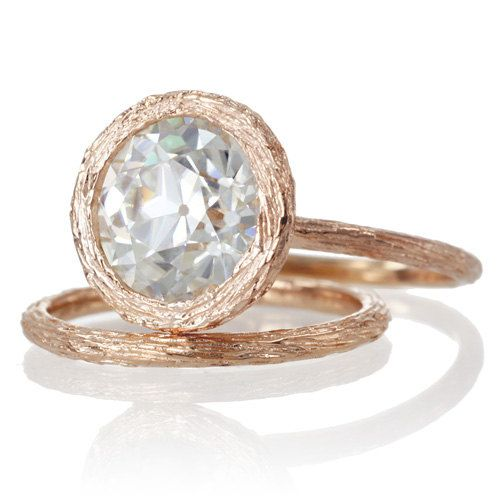 14 Karat Rose Gold Bezel Set Old European Cut 9mm Round by SAMnSUE, $2485.00 I would prefer in 18k YG.  but love the finish and texture and antique faceting.