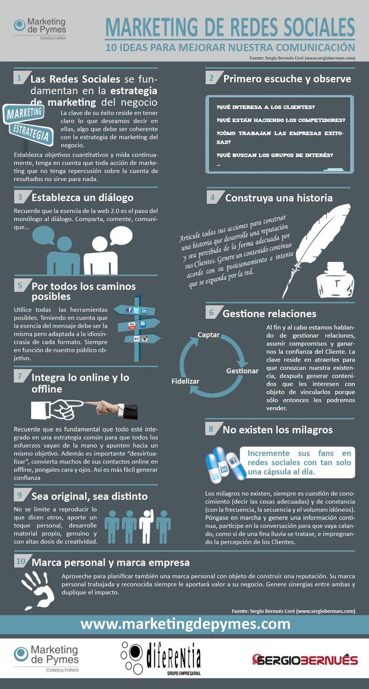 10 ideas para mejorar tu comunicación en redes Sociales #infografia #infographic #socialmedia