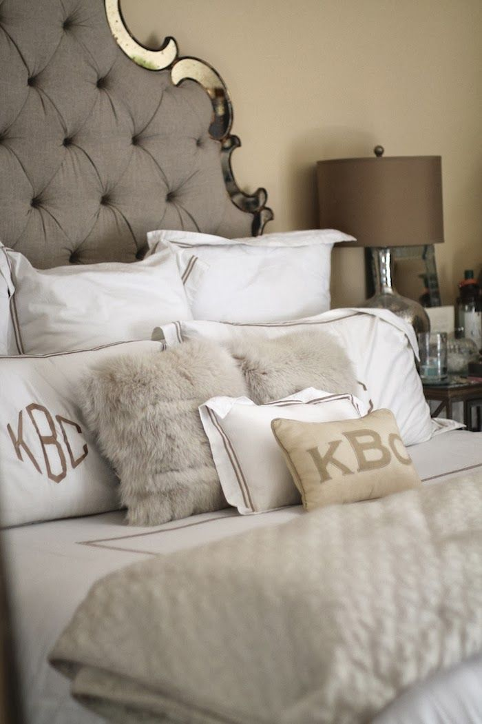 headboard pillow headboard gray headboard fur pillow monogram pillows ...