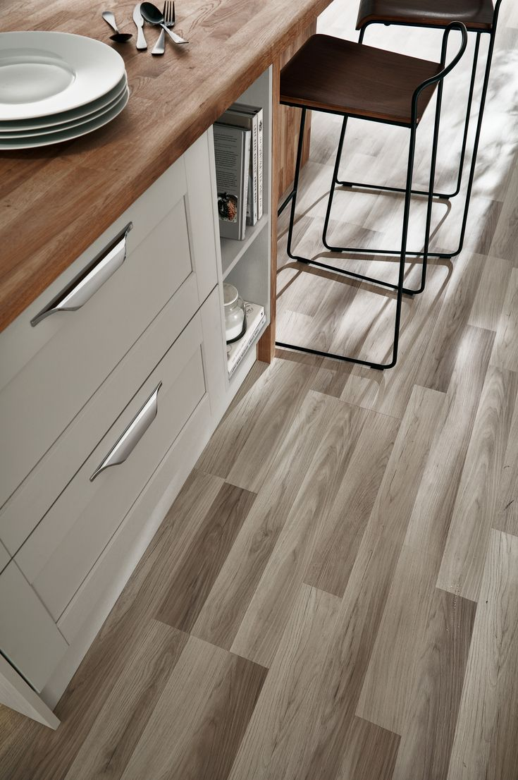 floors- Burford Grained Light Grey Kitchen from The Shaker Collection by Howdens Joinery
