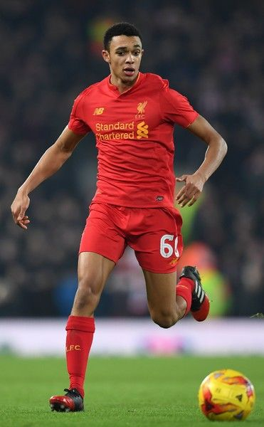 Liverpool's English midfielder Trent Alexander-Arnold controls the ball during the EFL (English Football League) Cup semi-final second-leg football match between Liverpool and Southampton at Anfield in Liverpool, north west England on January 25, 2017. / AFP / Paul ELLIS / RESTRICTED TO EDITORIAL USE. No use with unauthorized audio, video, data, fixture lists, club/league logos or 'live' services. Online in-match use limited to 75 images, no video emulation. No use in betting, games or…