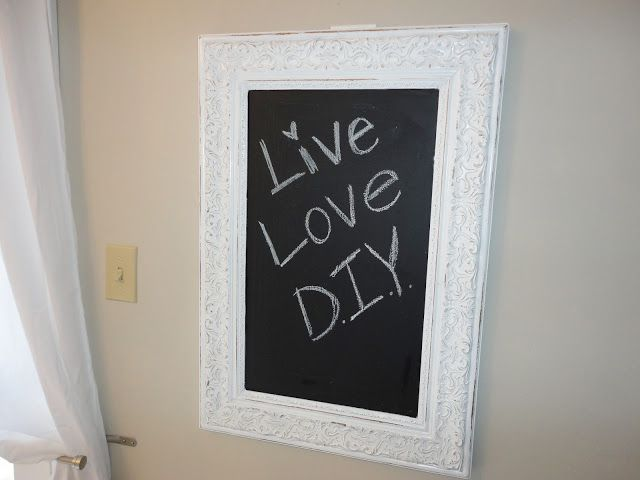 Use old frame, insert/adhere chalkboard. Perfect for messages on way out the door!