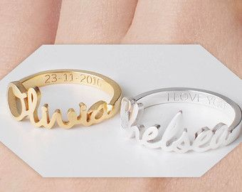 NAME RING - FONT F1 You can have your own name personalized on this ring.  * Maximum number of character: 10 * The name is 2.5mm-9mm high. * Material: Sterling Silver 925 * Color: Silver, 18K Gold Plated, Rose Gold * Size: US Ring Size. Quarter and half sizes are available. Please put the size you need in note box at check out. * This ring is also available in other FONT OPTIONS. Please check our PERSONALIZED RINGS section for these: https://www.etsy.com/shop/GracePersonal...