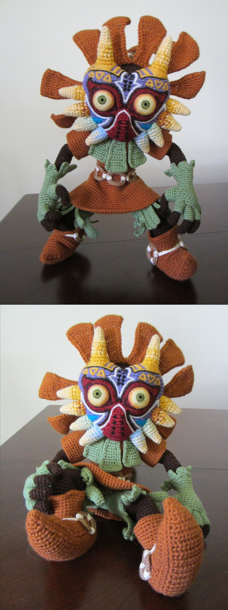 Skull Kid crocheting.   I wonder if I could convince my mom to make this for me.