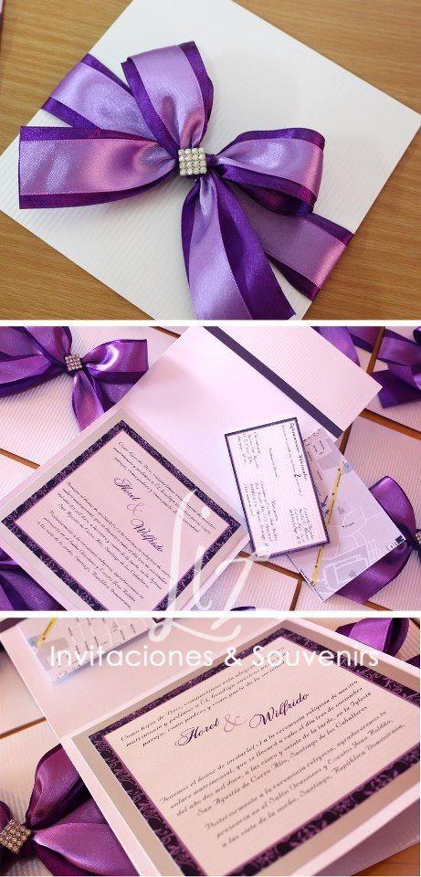 Invitación pocket fold de Boda   colores morado fuerte, lila y plateado  