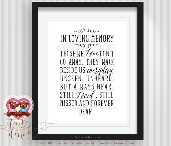 This printable is the most perfect way to honor our loved ones who have passed away. Framed it and placed it next to a memorial remembrance candle at your wedding or a baptism, or display this at your wall as a loving remembrance and reminder. In Loving Memory Those we love dont go away,They walk beside us every day. Unseen, unheard but always near Still loved, still missed and forever dear. ------------------------------------------------------------------------------------------ This is…