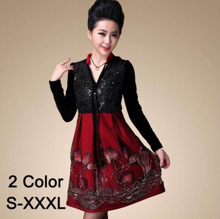 ==> [Free Shipping] Buy Best 2015 Plus Size XXXL China Style Vintage Sequins Embroidery Lotus Flower Printed Lace Dresses Women Party Dress Winter Dress Online with LOWEST Price | 32243815962