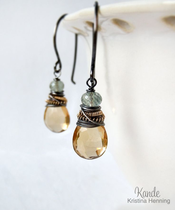 Citrine Aquamarine Earrings, Champagne Citrine Moss Aquamarine Yellow Green Oxidized Silver Wire Wrapped Drop Gemstone Dangle Kande. $32.00, via Etsy.