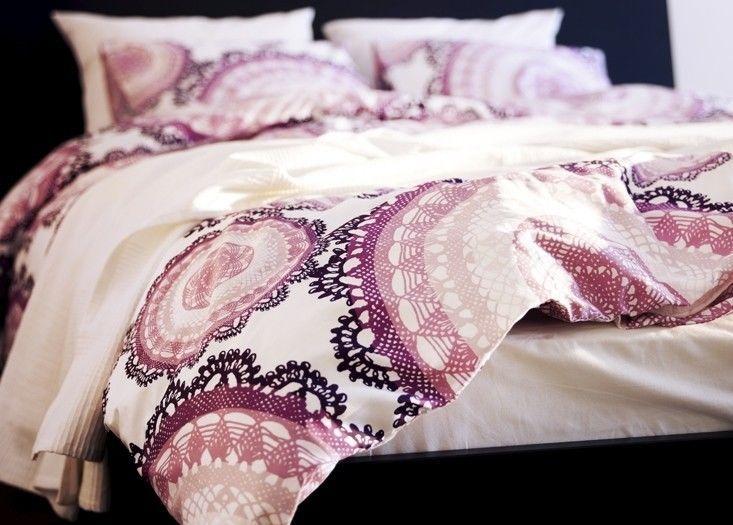 ikea lyckoax full queen duvet quilt cover 2 pillow cases lilac purple modern new