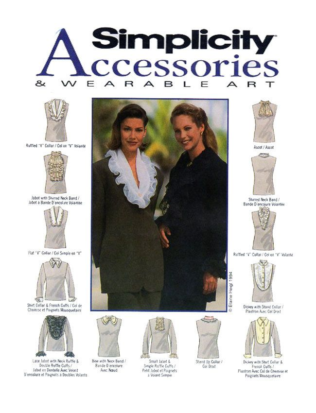Wearable Art & Accessories: Simplicity 9080 Jabot, Ascot, French Cuffs, Shirt Collar, Ruffled Collar, Neck Bands, Bows, Ruffle Cuffs UNCUT by FindCraftyPatterns on Etsy