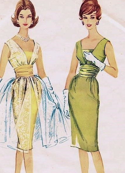 1960s COCKTAIL EVENING DRESS PATTERN 2 VERSIONS SHEATH SHEER OVERDRESS, CUMMERBUND MAD MEN STYLE McCALLS 5349