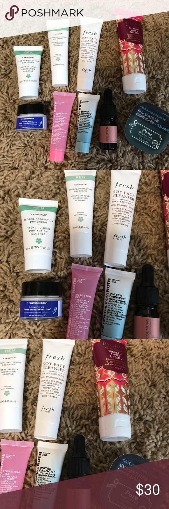 Skin care bundle All new and unused. Includes pore pack, Pacifica body butter, peter Thomas Roth rose mask, peter Thomas Roth water drench, 2 ren moisturizers, Josie Maran argan oil, ole henriksen sheer transformation and fresh soy cleanser Sephora Makeup
