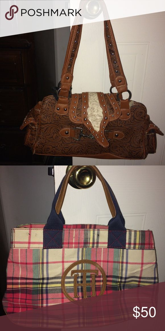 Purses Tommy hilfigure and a western saddle purse tommy is brand new, saddle is a lil worn nothing visible and still has all original stitch nothing broken or ripped Tommy Hilfiger Bags Totes