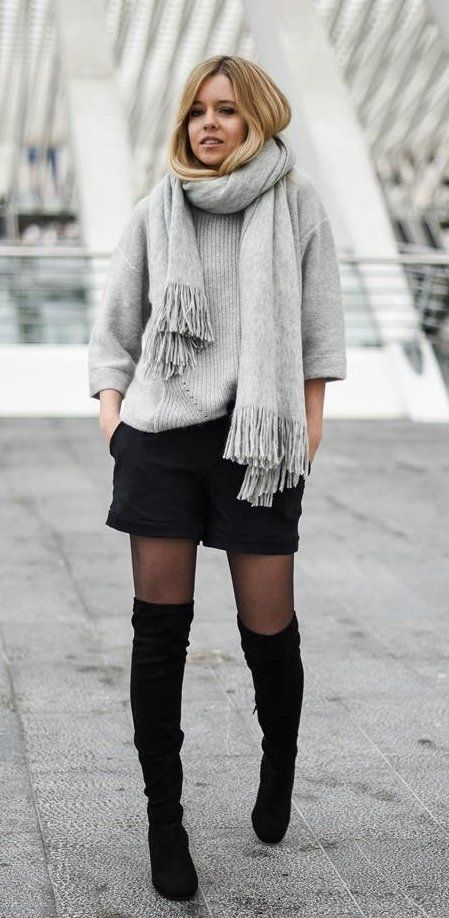 #winter #outfits gray scarf