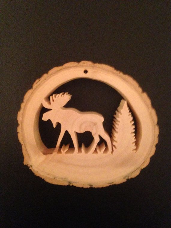 Hand Crafted  Reclaimed Tree Slice  Moose & by RidersWoodWorks