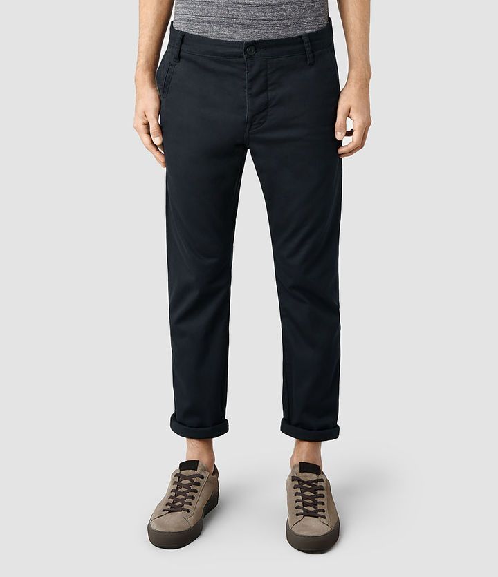 $140, Navy Chinos: AllSaints Stove Chino. Sold by AllSaints. Click for more info: https://lookastic.com/men/shop_items/214564/redirect