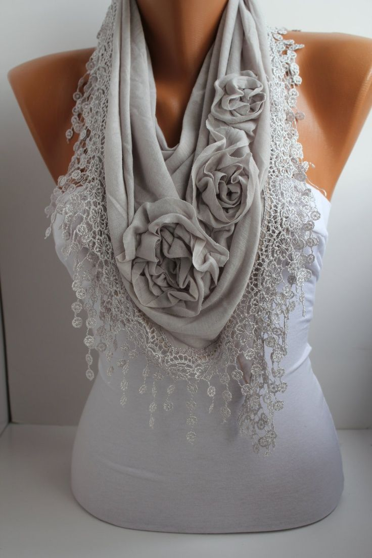 Light Gray Cotton Shawl/ Scarf - Headband -Cowl with Lace Edge.                                                                                                                                                                                 More