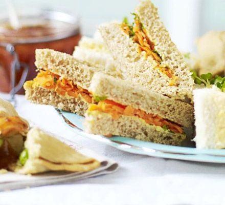 Carrot & raisin sandwiches. A vegetarian sandwich with a difference, this light filling is simple and great for afternoon tea or lunch boxes