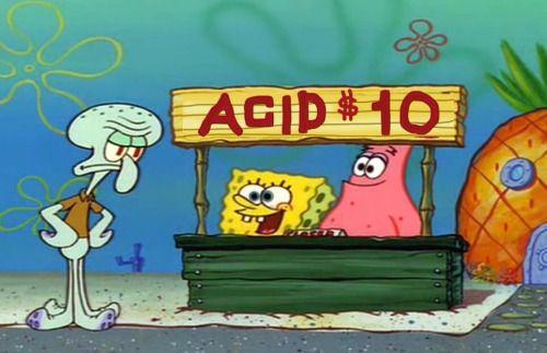 SpongeBob slanging some acid tabs in bikini bottom