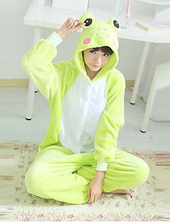 Belle Polar Fleece Grenouille verte unisexe Kigurumi pyjamas de nuit Halloween Costume animal de bande dessinée