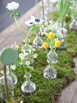 Moss & Wildflowers - anenomes, lotus pods and chamomile with moss  -TheWeddingPost.net