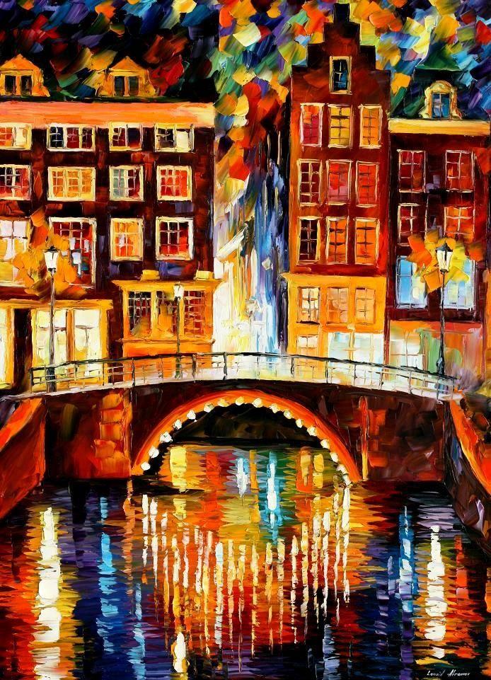 "cityscape ~ AMSTERDAM - LITTLE BRIDGE ~ PALETTE KNIFE oil on canvas by Leonid Afremov - Size 30""x40"""