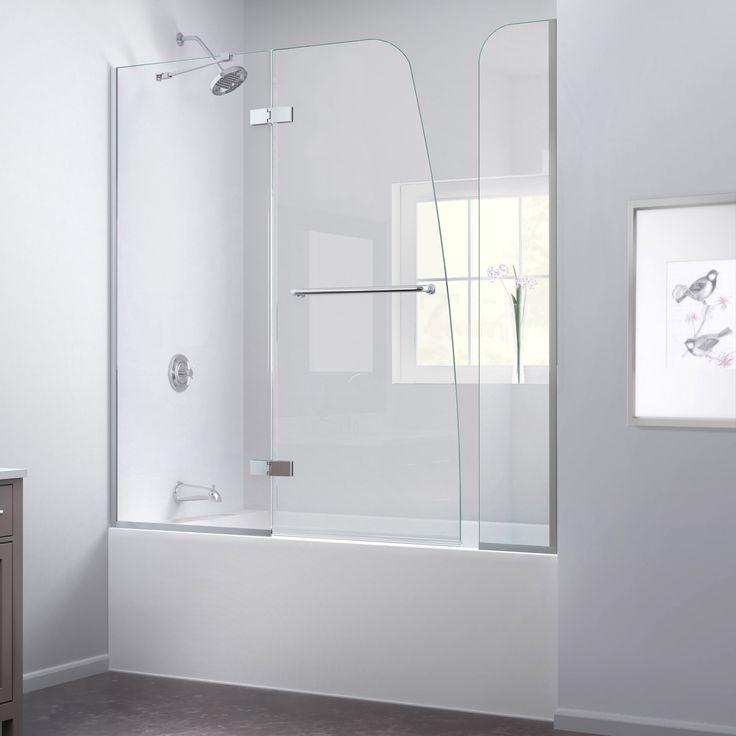 Dreamline Aqua Ultra 57 - 60 in. W x 58 in. H Frameless Hinged Tub Door, Clear Glass