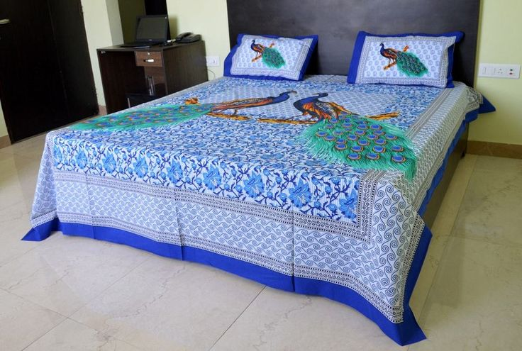 Peacock Print Bed Sheet Jaipur Traditional Bed Cover King Size Double Bedspreads #Handmade #ArtsCraftsMissionStyle