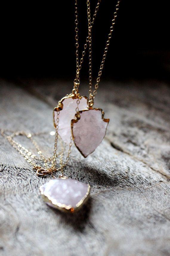 Rose Quart Arrowhead Edged in 24K Gold Necklace, Love Stone, Brazilian Stone, Healing Quartz, Bohemian Rubi, Spiritual, Nature Inspired