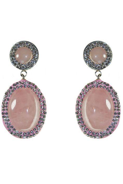 Pendientes con cristalitos de Swarovski que rodean piedras semipreciosas de cuarzo rosa. Perfectos para una boda, bautizo o cualquier otro evento. #legorburu #pendientes #pendienteslegorburu #invitadasboda #invitadas #hechoamano