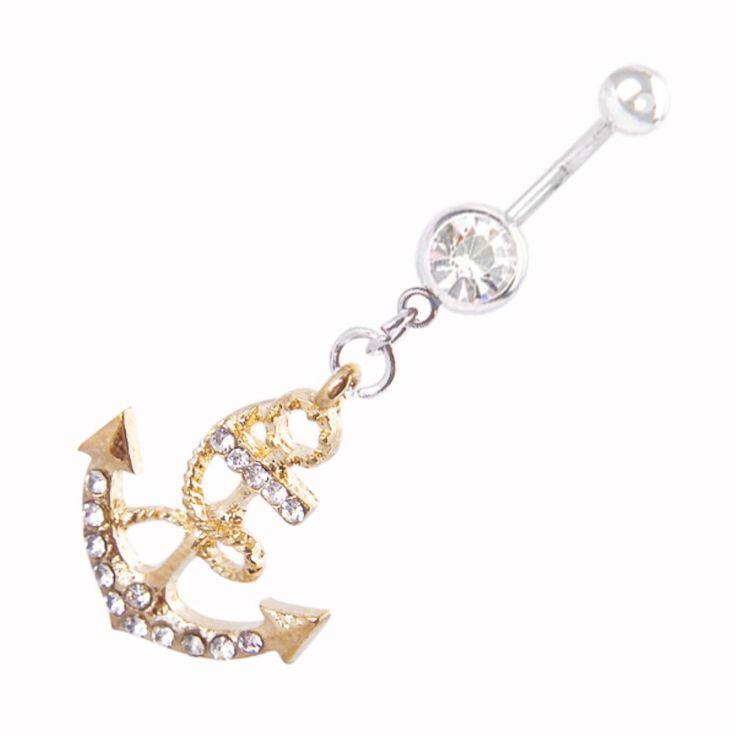 Пирсинг пупка золотой тела ювелирные изделия якорь пирсинг пупка стад штангой мода живот кнопка кольцо ES2331