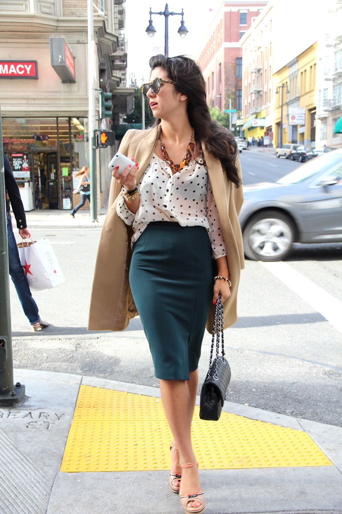 Blouse: H&M; Skirt: Zara; Jacket: Zara; Shoes: Prada; Bag: Chanel; Sunglasses: Karen Walker; Jewelry: J. Crew necklace, Michael Kors watch, vintage watch, Forever21 bracelet
