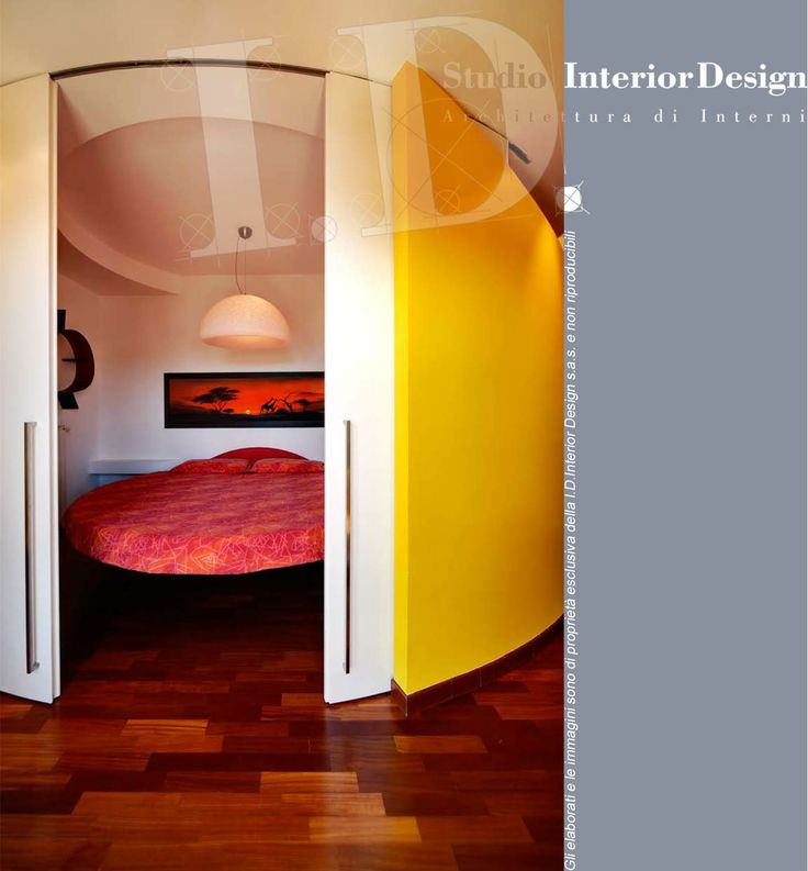 Spazio dinamico per la zona notte:  letto tondo e pareti scorrevoli www.studiointeriordesign.it
