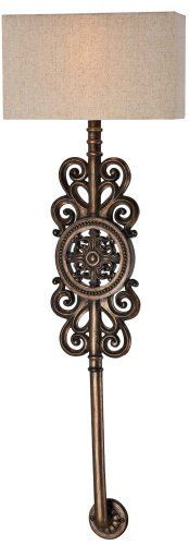 "Regents Row 36 1/2"" High Patina Bronze Wall Sconce by Minka Lavery. $179.91. This Minka Lavery wall sconce impresses with its ornate design. This long bracket light features elegant scrolling forms that surround a circular medallion with matching scroll details in the center. Comes with a beige fabric shade to complement a handsome Regents patina bronze finish.. Save 33%!"