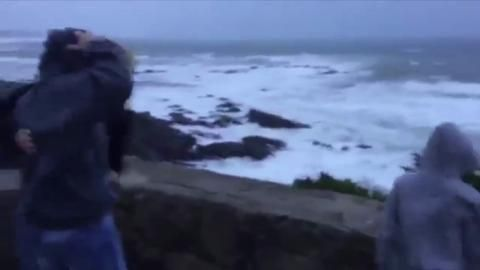 WATCH: High winds whip Oregon coast Near Cape Arago in Coos Bay, winds whipped over people at an observation point.