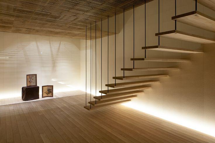 Ginzan Onsen Fujiya (2006) floating stairs | Yamagata, Japan • Kengo Kuma + Associates.