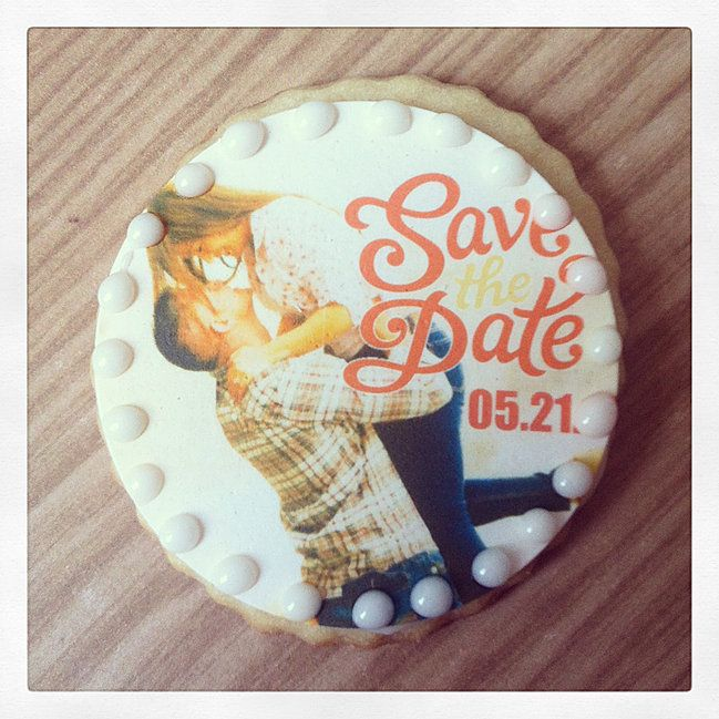 Save the Date cookies. | Custom cookies from Sassy Cookie Project will surely give your guests, clients and customers something to talk about. Contact us to design custom cookie favors.