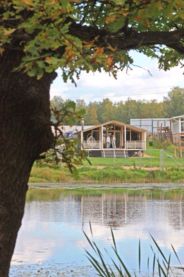 DublDom80 on the bank of forest lake. #dubldom #tinyhouse #cabin #prefabhouse #modularhouse #architecture #ДубльДом #prefab