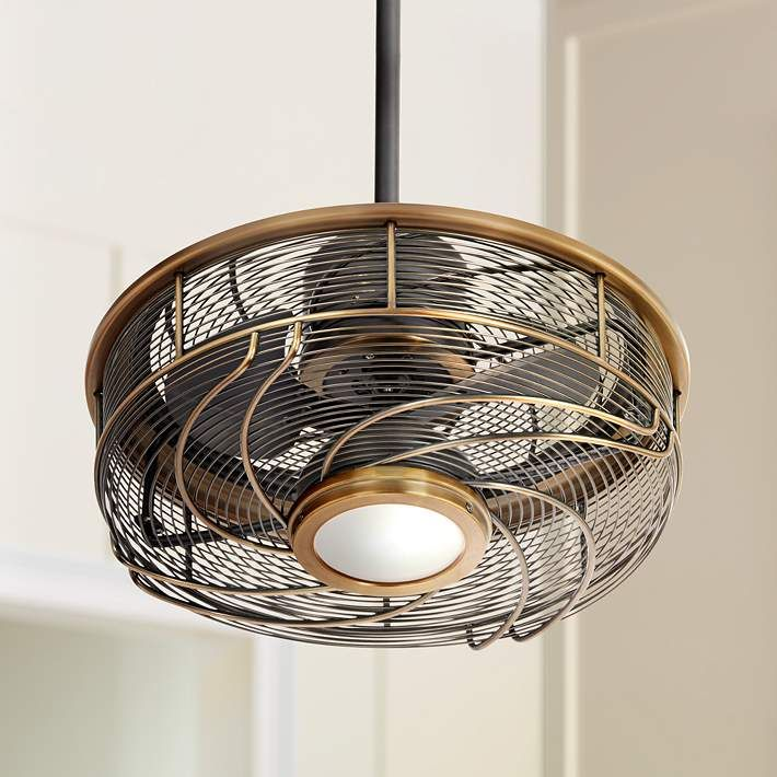 17 Quot Casa Vestige Imperial Brass Cage Led Ceiling Fan