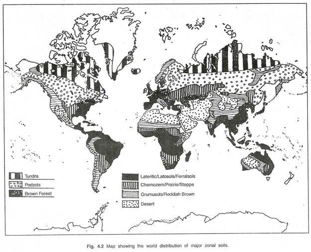 Map showing the world distribution of major zonal soils for Why are soils different