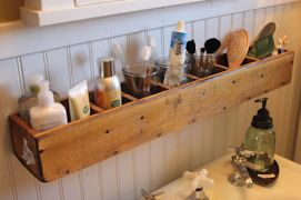 This DIY shelf can help increase storage space in your bathroom.
