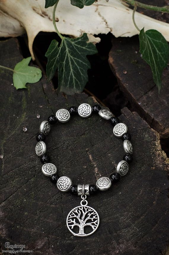 Pagan spirit bracelet  Yggdrasil bracelet  onyx by VictoriaEquinox