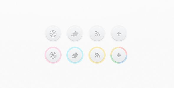 clean social media buttons - free psd