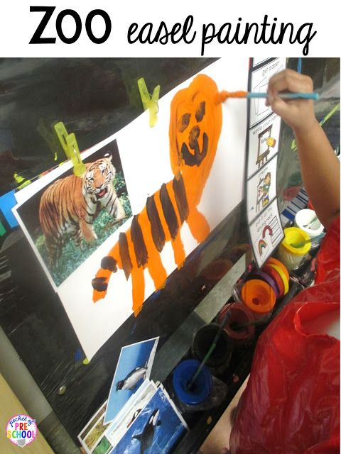Zoo Animal painting at the easel for a zoo theme. Desert art FREEBIE. Prefect for preschool, pre-k, and kindergarten.