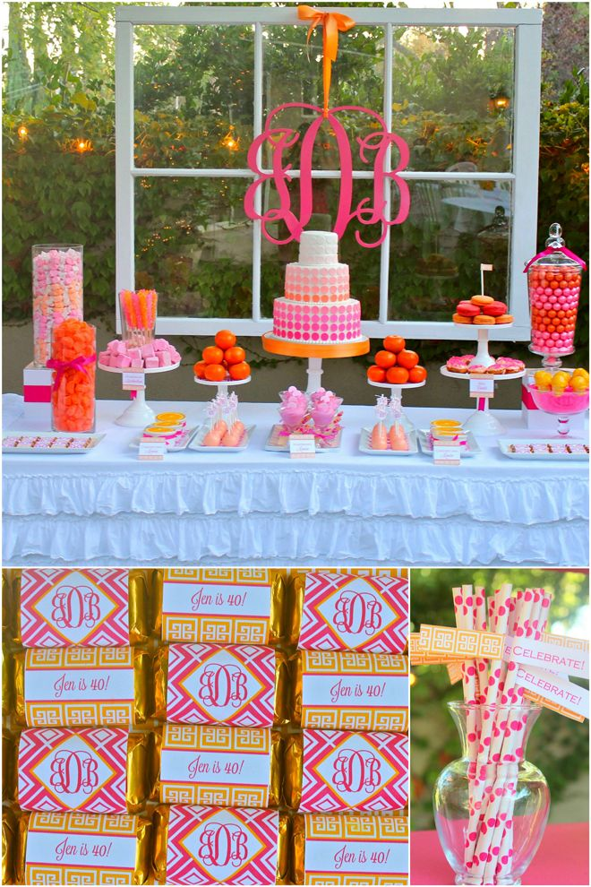 Pink and Orange Monogrammed Birthday Party! I love the idea of using large glass containers filled with treats. I would use a color scheme of pink, purple, and black though. I don't like orange.