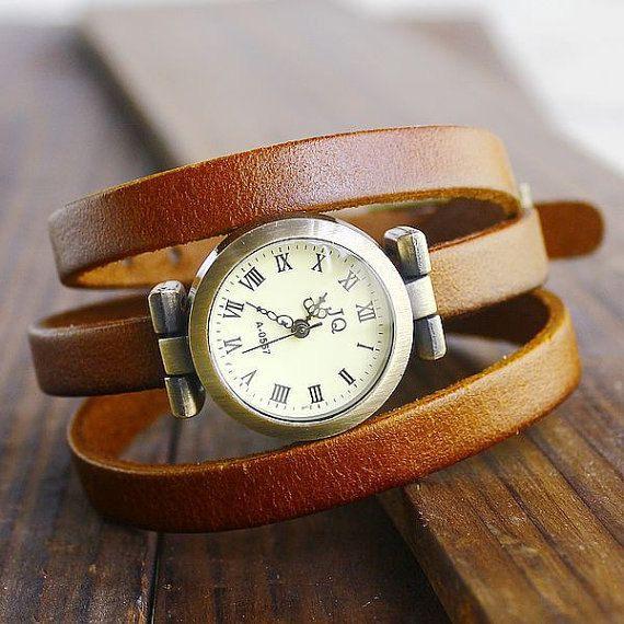 Watch.Leather wrap watch.Retro wrap watch.Bracelet watch.Vintage style wrap watch.Handmade watch.Women wrap watch.